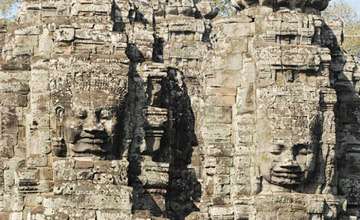 Cambodia Buddha faces Temple